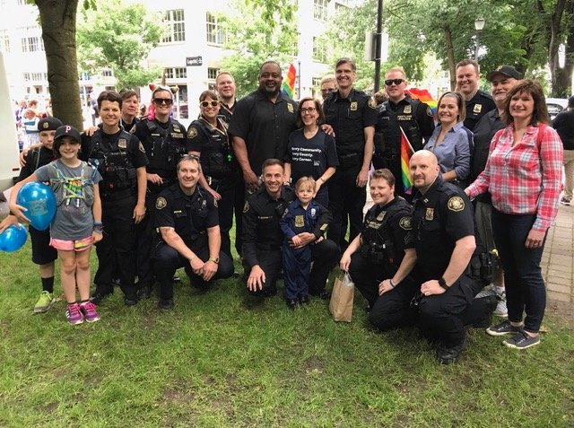 DT with Gov Kate Brown and Officers at Pride March 2017