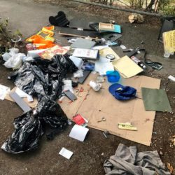 homeless camp and needles